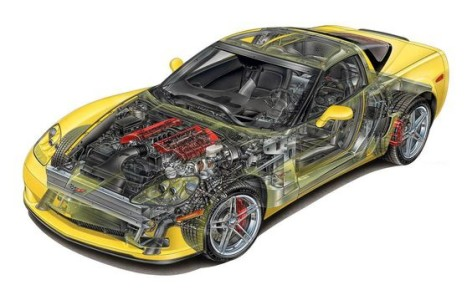 2006 Corvette Z06 cutaway. (Corvette Online illustration.)